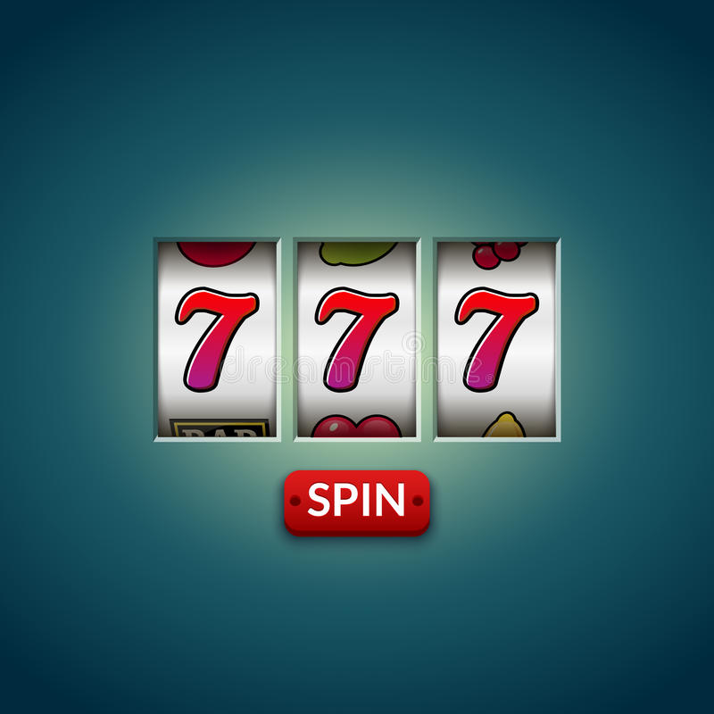 Lucky seven 777 slot machine. Casino vegas game. Gambling fortune chance. Win jackpot money royalty free illustration