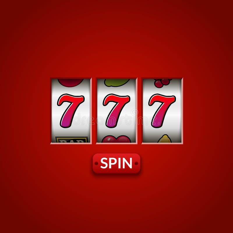 Lucky seven 777 slot machine. Casino vegas game. Gambling fortune chance. Win jackpot money stock illustration
