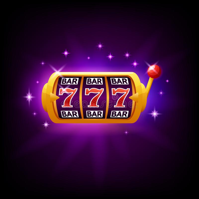 Lucky seven on slot machine, icon for online casino or mobile game, fortune chance symbol, vector illustration with vector illustration