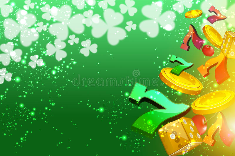 Lucky sevens, casino dice and coins flying at the viewer royalty free stock photography