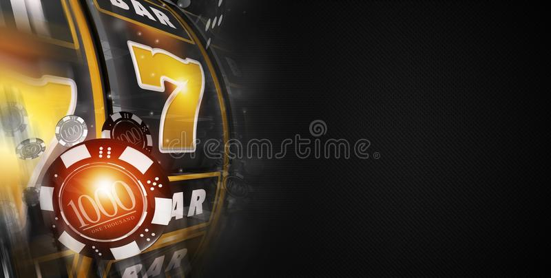 Lucky Slot Machine Banner. 3D Rendered Illustration. Black Banner with Copy Space. Vegas Style Slot Machine and Games Chips stock illustration