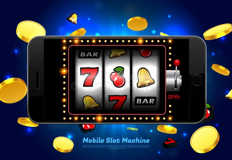 Lucky slot machine casino on mobile phone with light background vector illustration