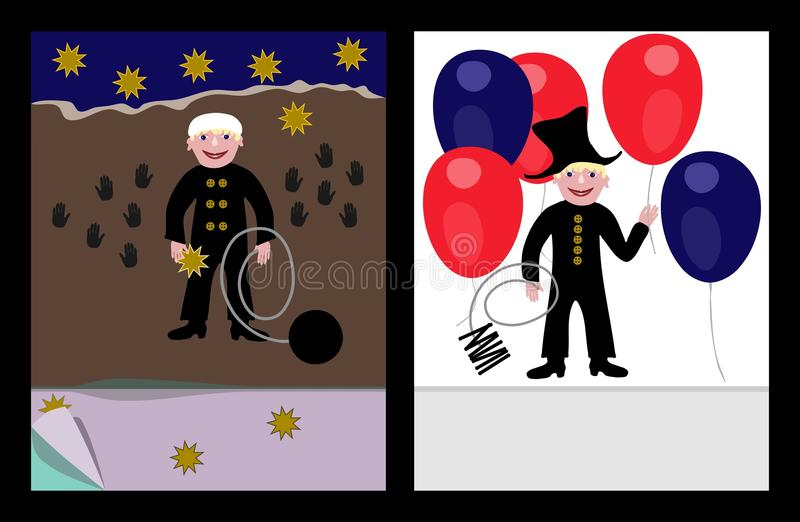 Lucky sweep. With stars and with air party balloons on cover book templates vector illustration
