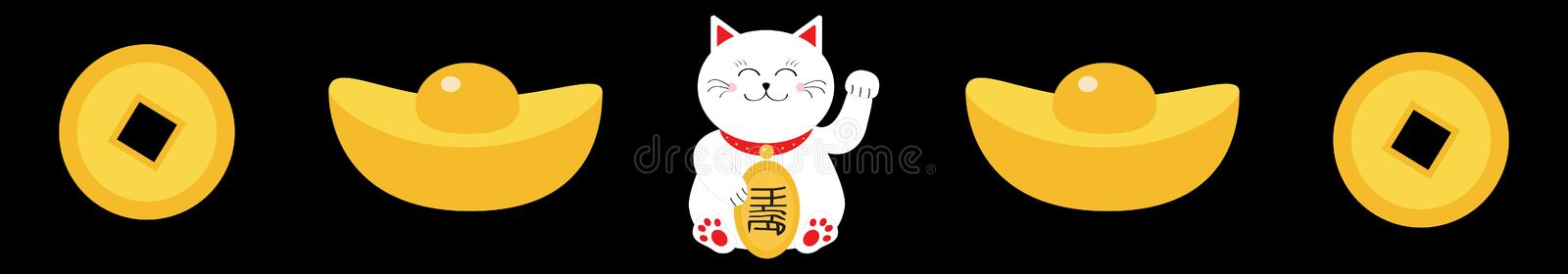 Lucky white cat sitting and holding golden coin. Chinese gold Ingot Money Japanese Maneki Neco kitten waving hand paw. Cute. Cartoon character. Flat design royalty free illustration