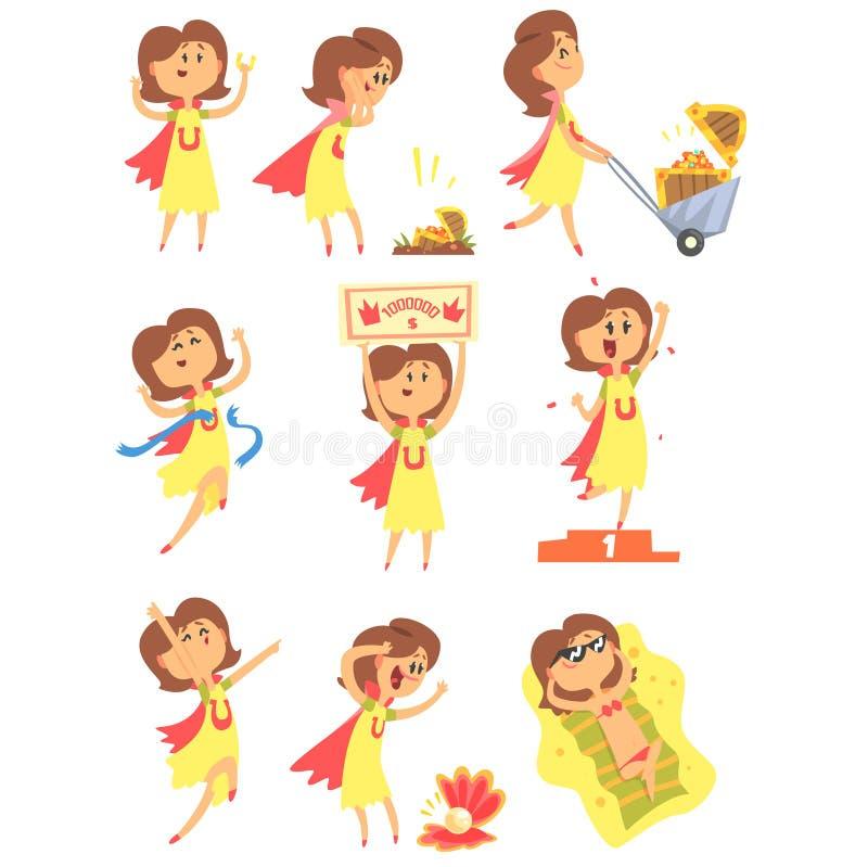 Lucky Woman Having Good Luck und plötzlicher Schlagmann der Vermögens-Reihe komischer Vektor-Illustrationen lizenzfreie abbildung