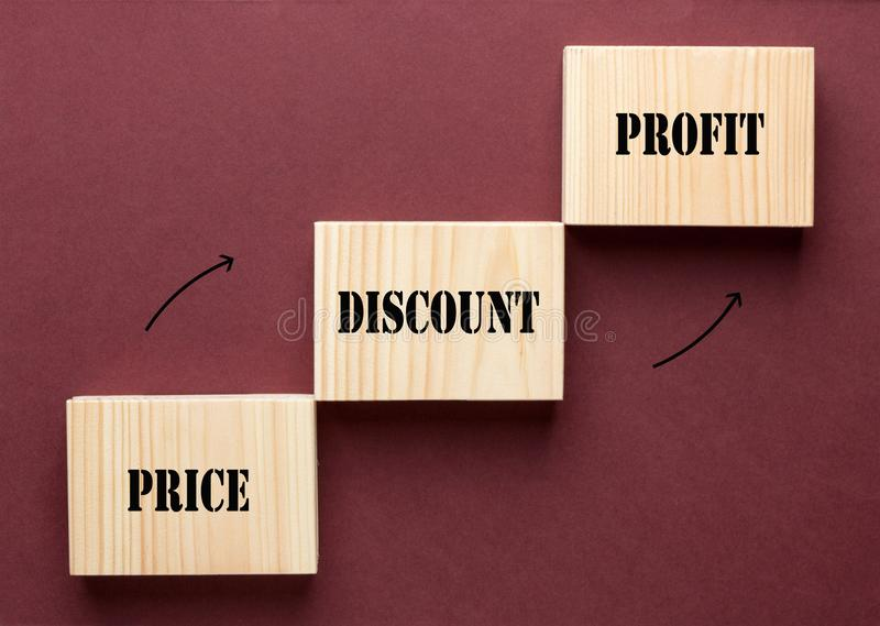 Lucro do desconto do preço imagem de stock