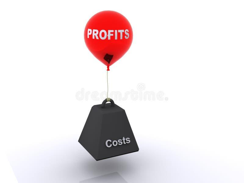 Lucros e custos ilustração royalty free