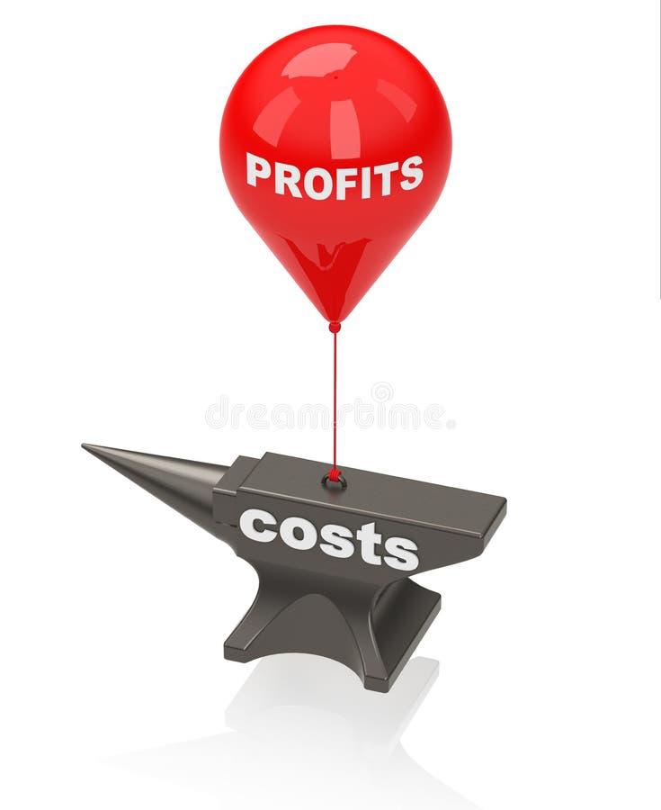 Lucros e custos ilustração stock