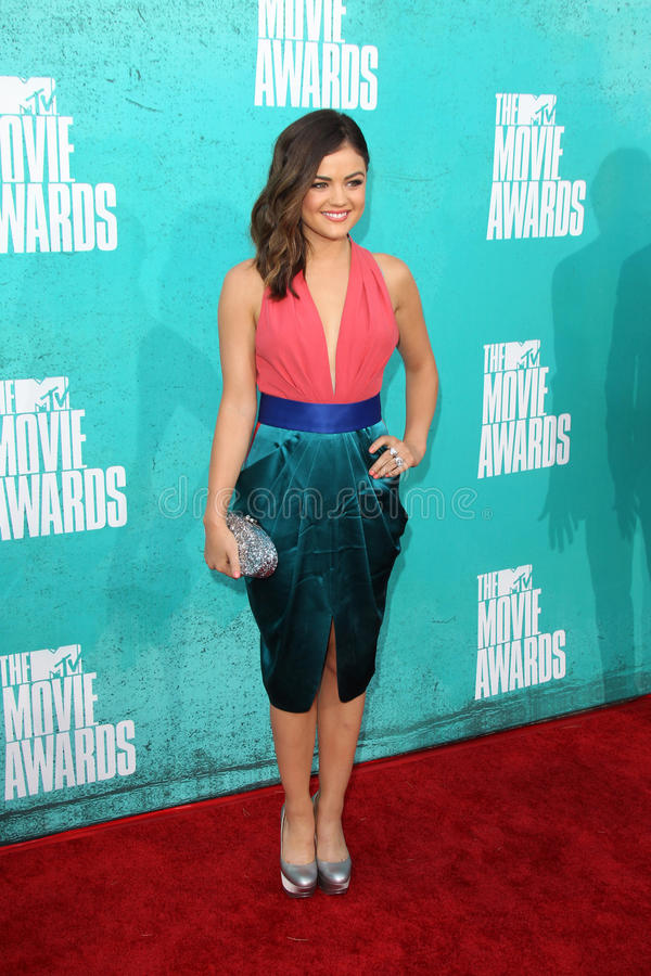 Lucy Hale arriving at the 2012 MTV Movie Awards