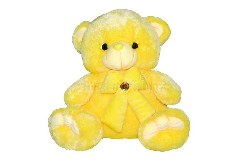Luddig gul isolerad nallebjörn arkivfoto