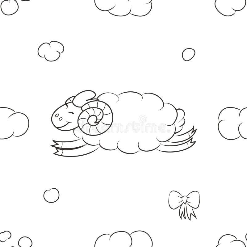 Luddigt fårflyg i himlen vektor illustrationer