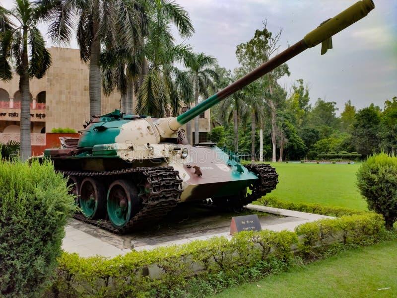 Ludhiana,india den 16 augusti 2019:indian stridstank på museum, t-54-tank,Maharaja Ranjit Singh War Museum inrättade 1999 arkivbild