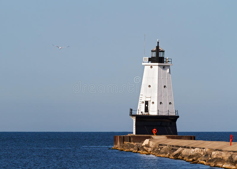 Ludington Lighthouse on Breakwater. The North Breakwater Light of Ludington, Michigan stock images