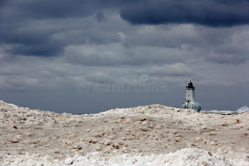 Ludington Lighthouse. Picture of the Ludington Lighthouse in the Winter. The Ludington Lighthouse is on Lake Michigan stock photography