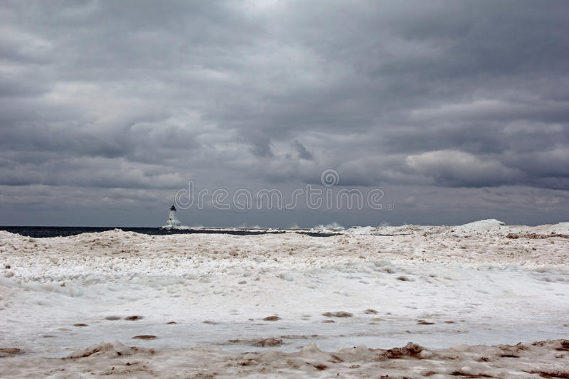 Ludington Lighthouse. Picture of the Ludington Lighthouse in the Winter. The Ludington Lighthouse is on Lake Michigan royalty free stock image