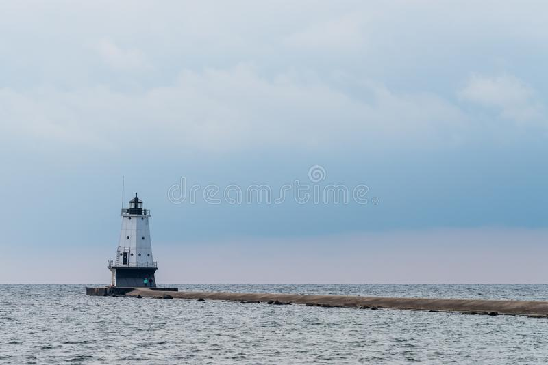 Ludington North Pierhead Lighthouse. On Lake Michigan at Ludington, Michigan royalty free stock photography