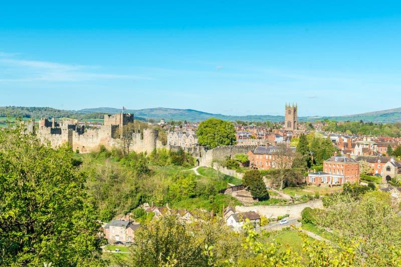 Ludlow Castle and tow. London, United Kingdom - April 23, 2017: Ludlow Castle and town - view from a hill, Ludlow, Shropshire, England, UK stock images