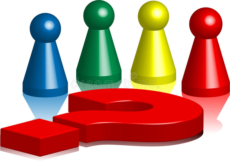 Ludo figures question mark 4 royalty free illustration