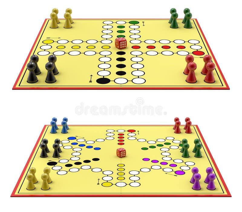 Ludo gra - Niemiecka wersja dla 4 i 6 gracza ilustracja wektor