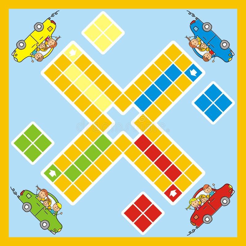 Ludo, jogo com carro e crianças, vetor ilustração stock