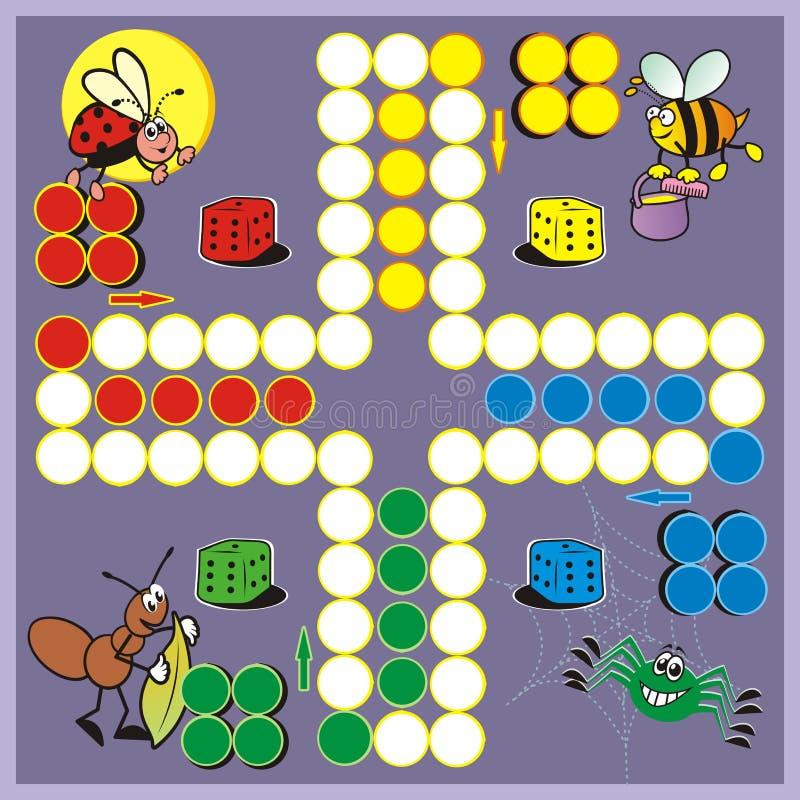 Ludo, jogo de mesa com os animais para crianças ilustração royalty free