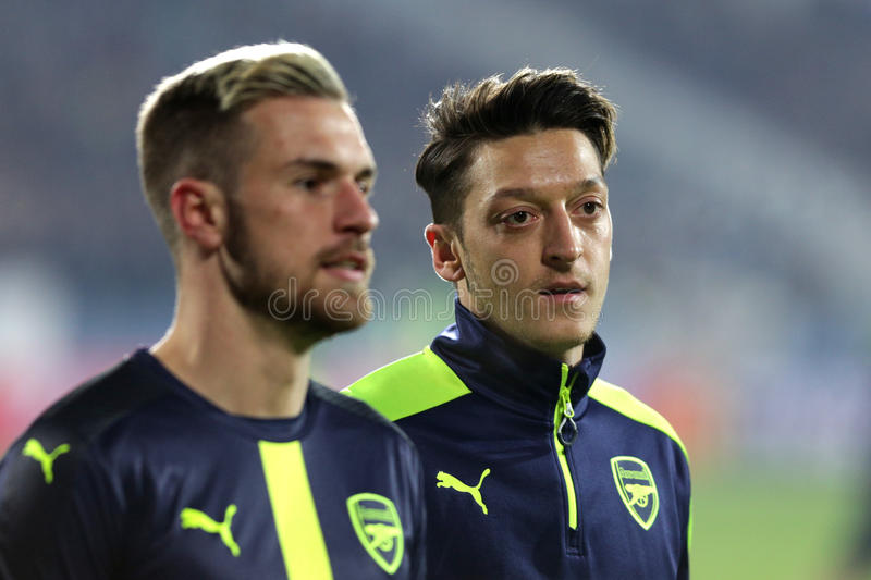 Ludogorets contre le match de football d'arsenal photo stock