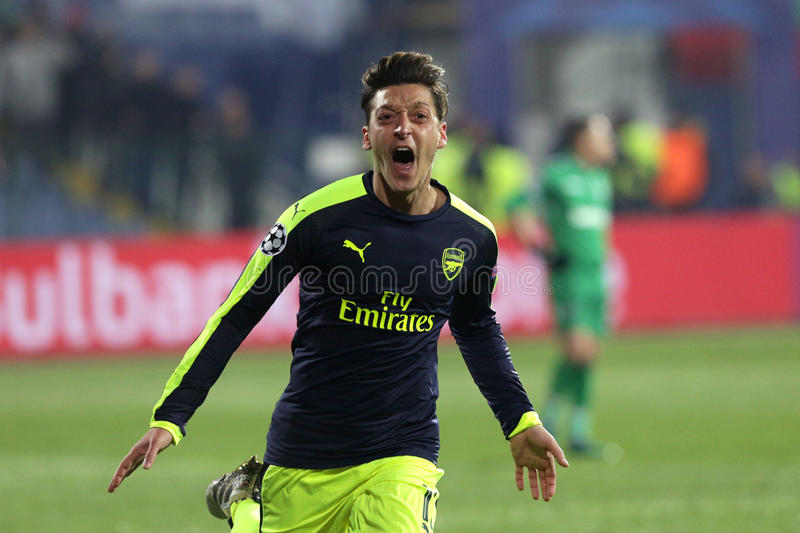 Ludogorets contre le match de football d'arsenal image stock