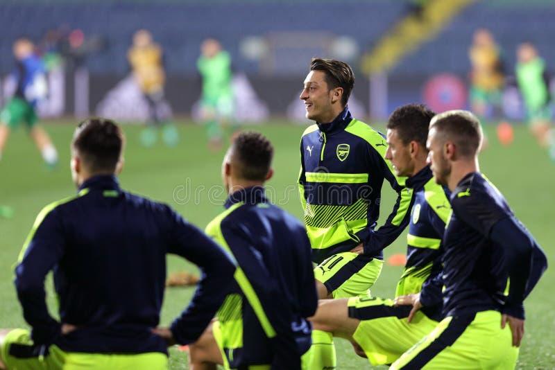 Ludogorets gegen Arsenalfußballspiel stockfotos