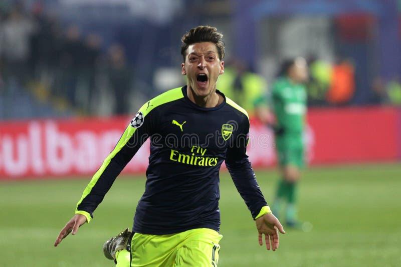 Ludogorets gegen Arsenalfußballspiel stockbild