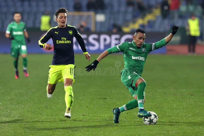 Ludogorets gegen Arsenalfußballspiel lizenzfreie stockfotos