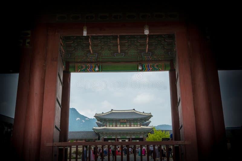 ludowego gyeongbokgung muzeum pałacu krajowego Korei fotografia royalty free