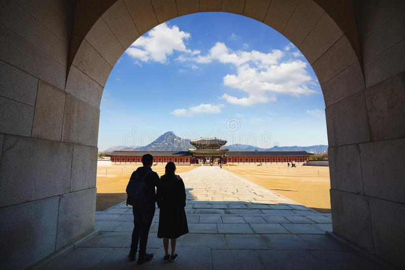 ludowego gyeongbokgung muzeum pa?acu krajowego Korei zdjęcie royalty free