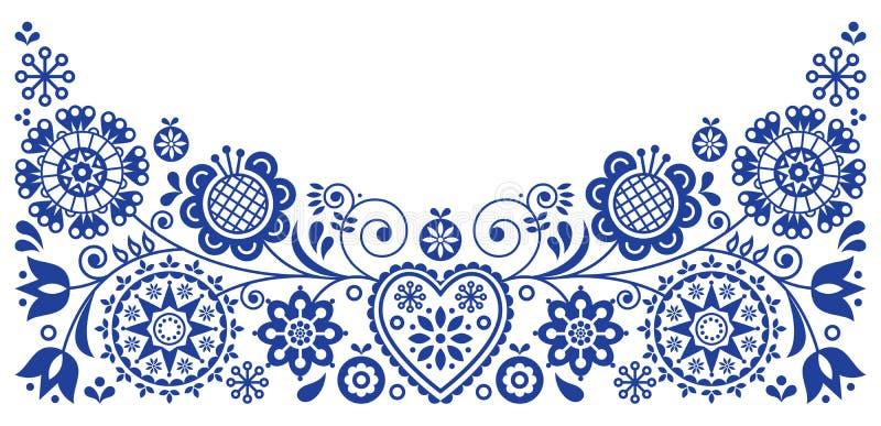 Ludowej sztuki kartka z pozdrowieniami retro wektorowy projekt, kwiecisty ornament inspirujący Skandynawską sztuką ilustracji