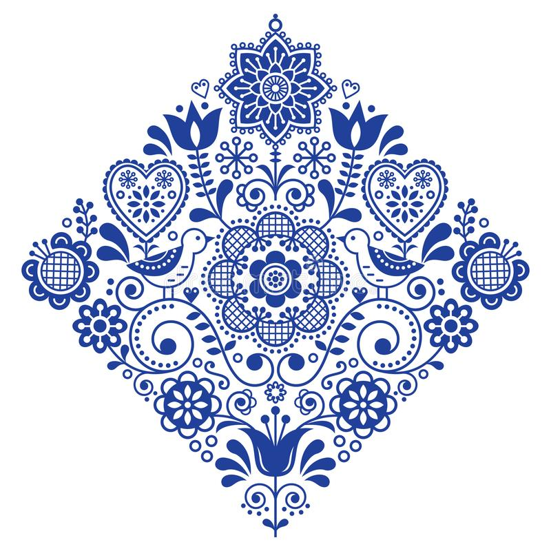 Ludowej sztuki wektoru retro kwadratowy wzór z ptakami i kwiatami, Skandynawski marynarki wojennej błękita symmetric projekt ilustracji