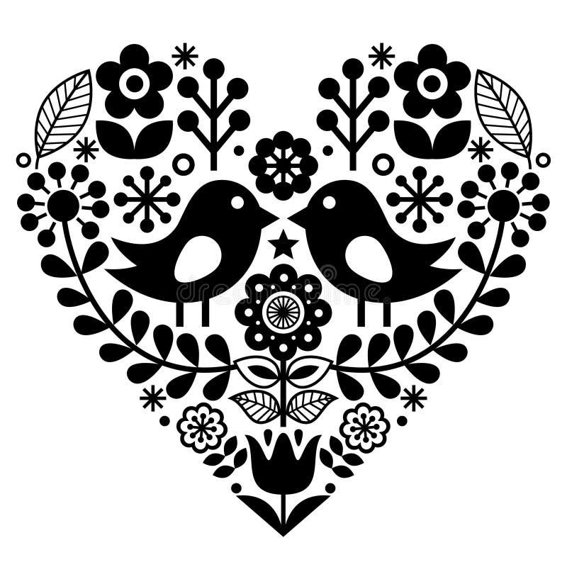 Ludowej sztuki wzór z ptakami i kwiatami - Fiński inspirowany, walentynki ` s dzień ilustracji