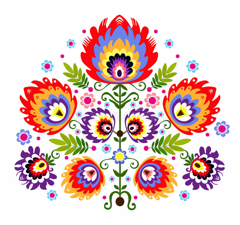 Ludowi broderia kwiaty ilustracja wektor