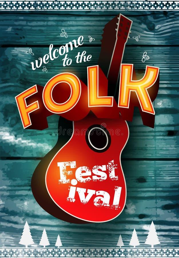 Ludowy festiwalu plakat z gitara akustyczna kształtem na drewnianym tle również zwrócić corel ilustracji wektora 10 eps royalty ilustracja