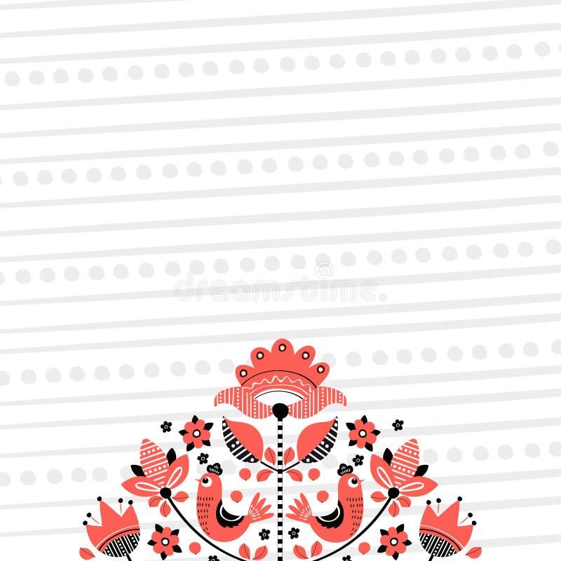 Ludowy kwiecisty hafciarski tło 2 ilustracja wektor