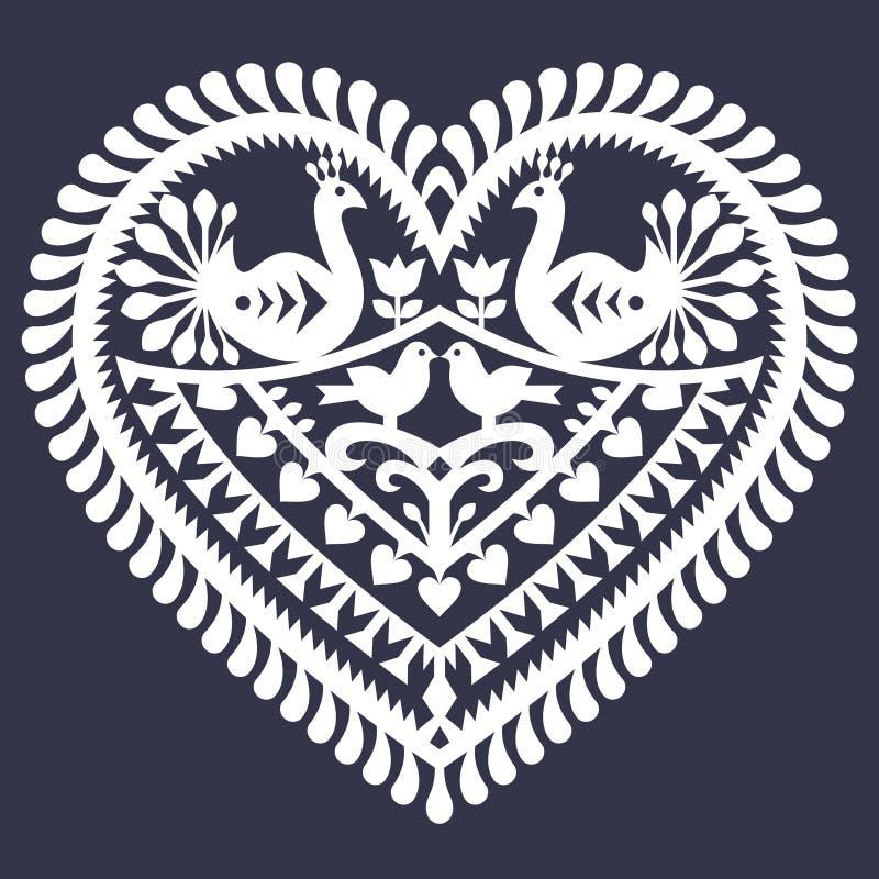 Ludowy serce wzór dla Valentine& x27; s dzień - Wycinanka Kurpiowskie & x28; Kurpiowski Papercuts& x29; ilustracji