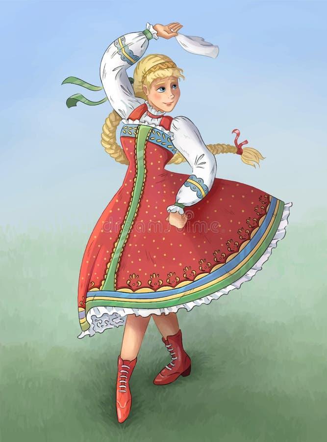 Ludowy taniec wykonujący kniaź, rosjanin, Białoruska dziewczyna w krajowym kostiumu Ręka rysujący kolorowy wizerunek wektor ilustracji