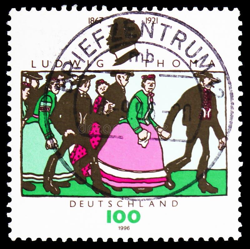 Ludwig Thoma 1867-1921, escritor; boda de Bruno Paul, 75.o aniversario de la muerte del serie de Ludwig Thoma, circa 1996 imagenes de archivo