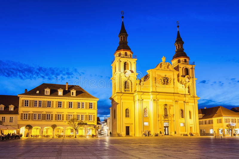 Ludwigsburg, Germany. View of the old town square in Ludwigsburg at night stock photo