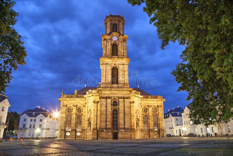 Ludwigskirche -一个巴洛克式的样式教会在萨尔布吕肯 免版税库存图片