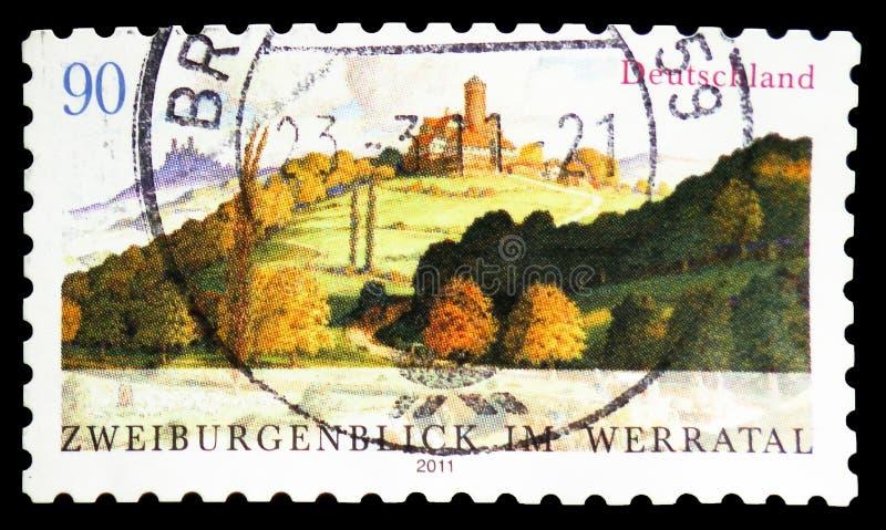 Ludwigstein roszuje Hessia i roszuje ruinę Hanstein Thurin, Werratal, widok Dwa kasztelów seria około 2011, zdjęcia stock