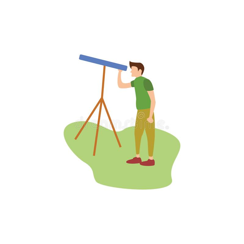Ludzcy hobby Stargazing ilustracja wektor