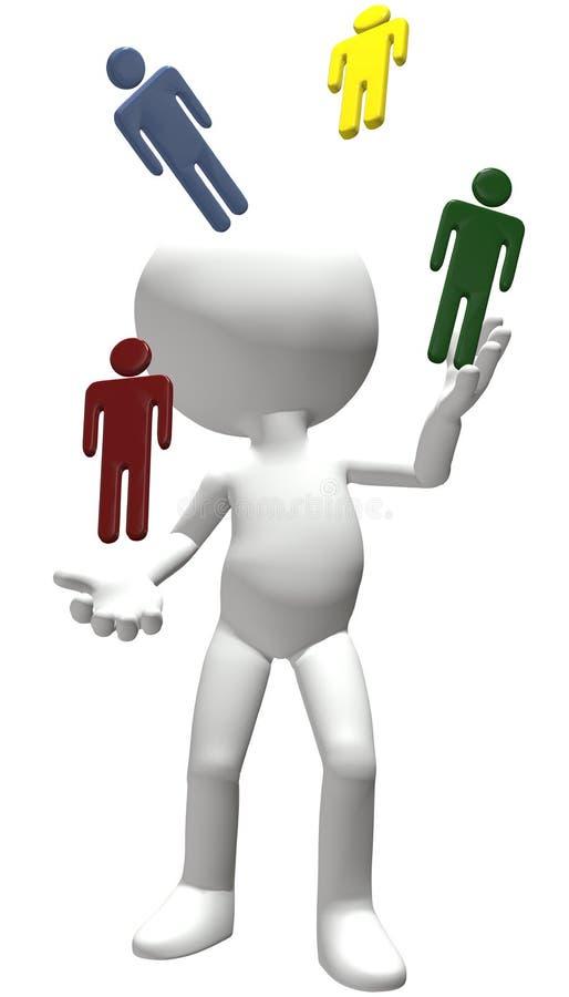 ludzcy juggler żonglerek ludzie zasobów personelu royalty ilustracja