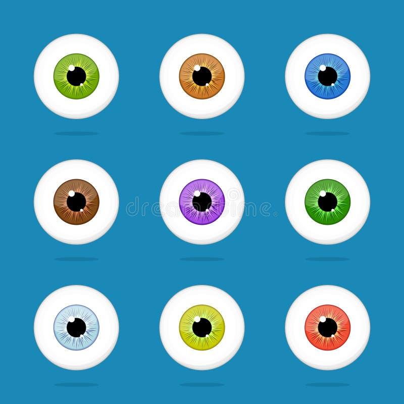 Ludzcy oczy ustawiający odizolowywającymi na błękitnym tle Kolorowi gałka oczna irysa ucznie ilustracji