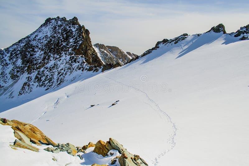 Ludzcy odciski stopy na lodowu fotografia stock