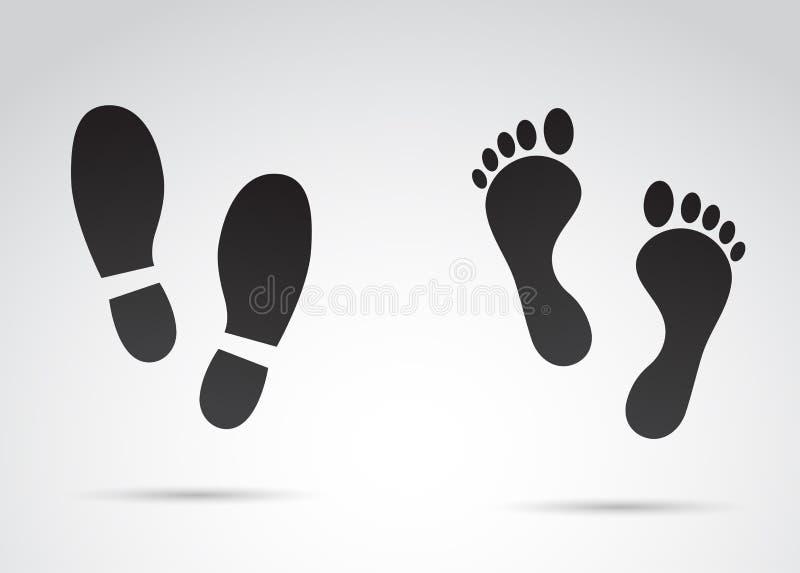 Ludzcy odciski stopy odizolowywający na białym tle ilustracji