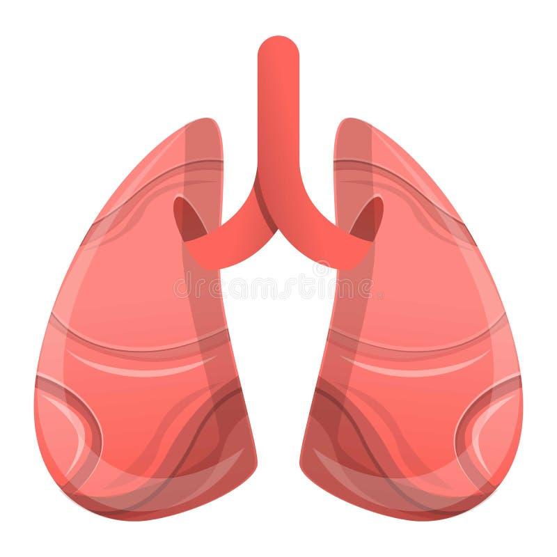 Ludzcy płuca ikony, kreskówka styl ilustracji